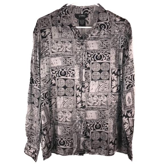 Vintage Silk Silver Black Tribal Print Shirt